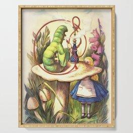 Alice & The Hookah Smoking Caterpillar - Alice In Wonderland Serving Tray