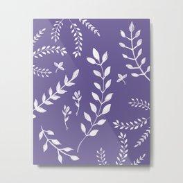 Ultra Violet Leaves Pattern #2 #drawing #decor #art #society6 Metal Print