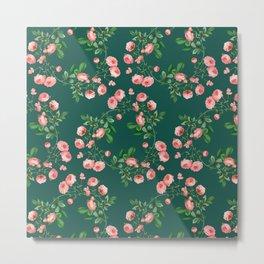 Antique Rose Floral Pattern (emerald green background) Metal Print