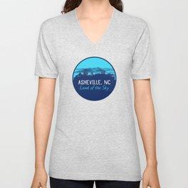 Asheville Cityscape - Land of the Sky - AVL 7 Blue Gradient Unisex V-Neck