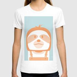 Minimal Sloth on Blue T-shirt