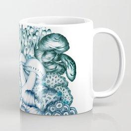 A Medley of Mushrooms in Blue Coffee Mug