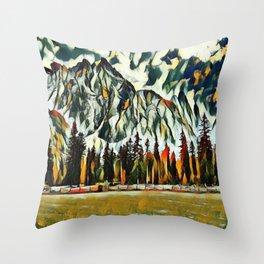 Scenic Mountain Abstract Throw Pillow