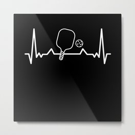 Pickleball Heartbeat Dink Dinking Gift Metal Print