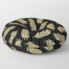 Gold Glitter Palms  |  Black Background Floor Pillow