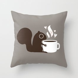 Squirrel Coffee Lover | Cute Woodland Animal Throw Pillow