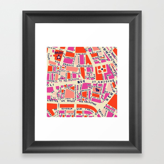 paris map pink Gerahmter Kunstdruck