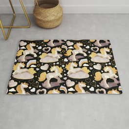 Kicking off some magic // black background white and grey unicorns hearts clouds and rainbows golden lines Rug