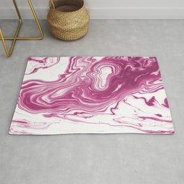 Mogi - spilled ink japanese printmaking watercolor marble pink sea ocean waves swirl flow painting Rug