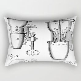 Coffee Mill Patent - Coffee Shop Art - Black And White Rectangular Pillow