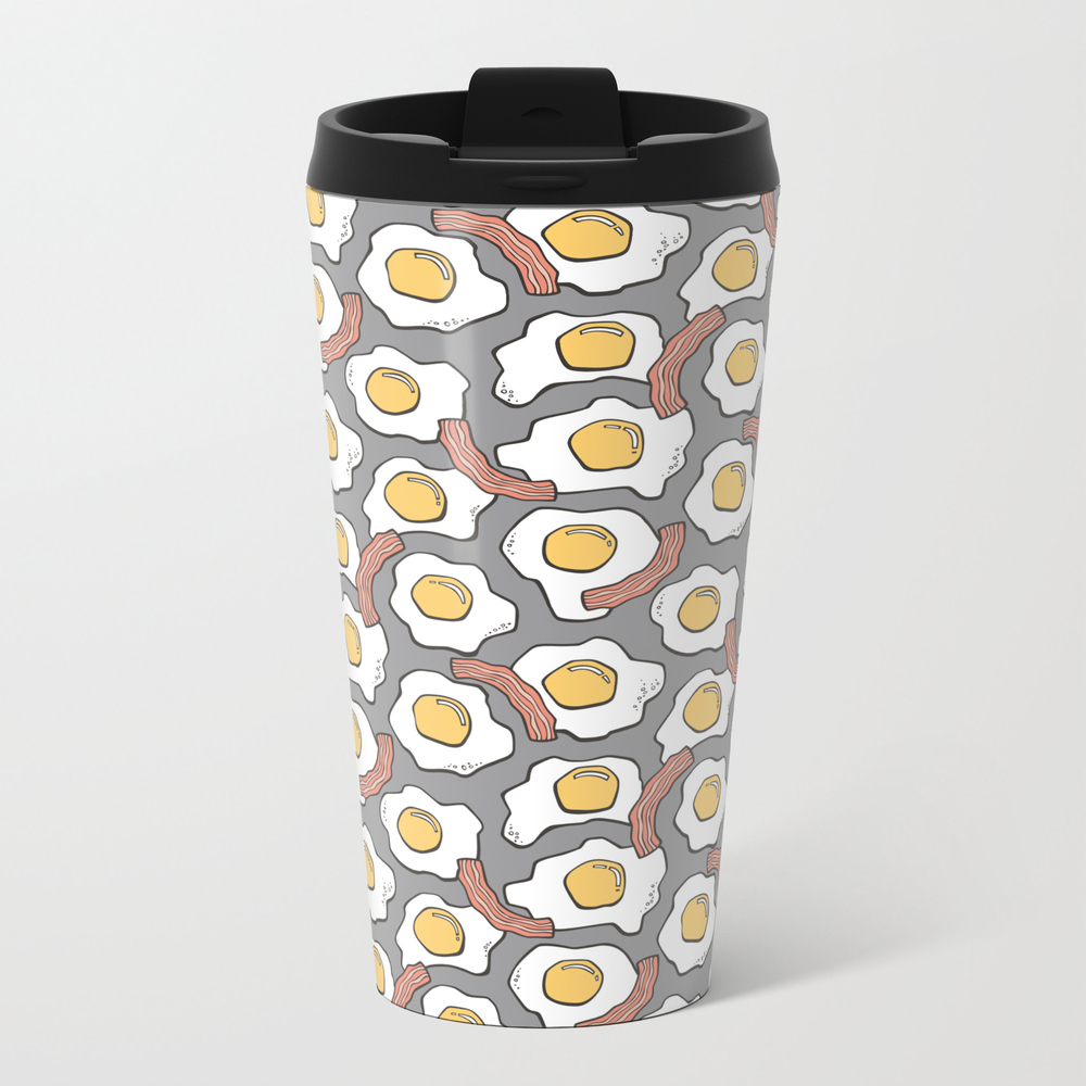 Eggs And Bacon On Grey Metal Travel Mug by Caja MTM7595096