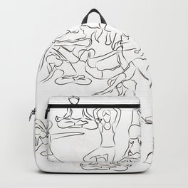Yoga Asanas black on white Backpack