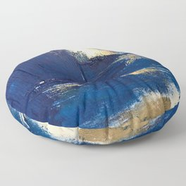 Halo [2]: a minimal, abstract mixed-media piece in blue and gold by Alyssa Hamilton Art Floor Pillow