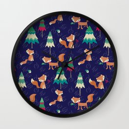 Woodland Foxes Wall Clock