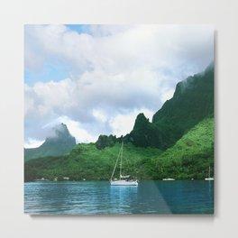 Sailboat in Cook's Bay: Moorea, South Pacific Metal Print