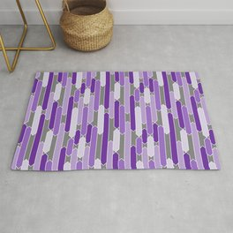 Modern Tabs in Purple and Lavender on Gray Rug