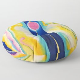 Pink Moon and Blue Lines Abstract Painting by Georgia O'Keeffe Floor Pillow