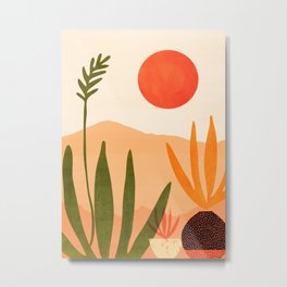 Golden California / Desert Landscape Illustration Metal Print