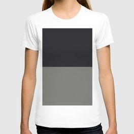 Black & Dark Pewter Gray Solid Color Horizontal Stripe Minimal Graphic Design Jolie Legacy & Noir T-shirt