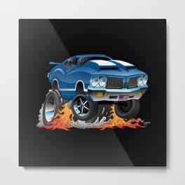 Classic Seventies American Muscle Car Hot Rod Cartoon Illustration Metal Print