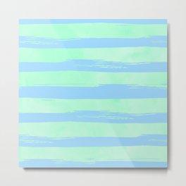 Trendy Stripes Blue Raspberry + Mint Meringue Metal Print