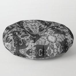 Sunflowers - Mehndi Paisley Floral Abstract Art - Black White #1 Floor Pillow