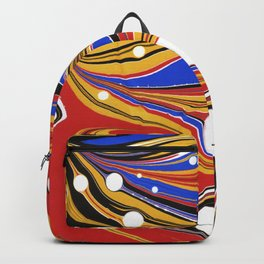 Marbled Red Yellow Blue Black Backpack