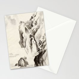 Chinese Ink and Brush Painting of Trees and Mountains Stationery Cards