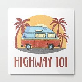 Highway 101  TShirt Vintage Caravan Shirt Travel Road Gift Idea Metal Print