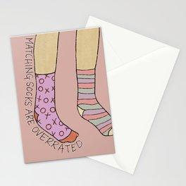 Mix Match Socks - Pink and Orange, Quote, Socks Illustration Stationery Cards