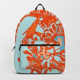 Orange and blue floral pattern Backpack