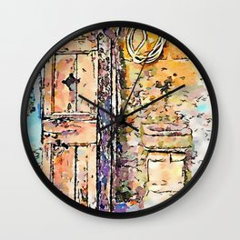 Barbarano Romano: wooden door of a window and stone fountain Wall Clock