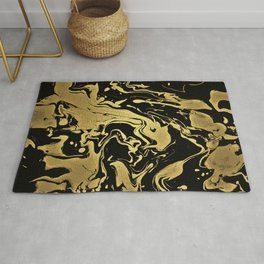 Liauid Rich Gold - black and gold abstract swirl pattern Rug
