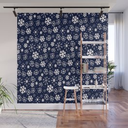 Hand Drawn Snowflake Blizzard With Navy Classic Blue Background Wall Mural