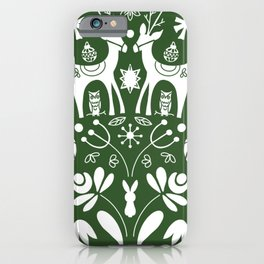 Holiday Folk art in green and white iPhone Case