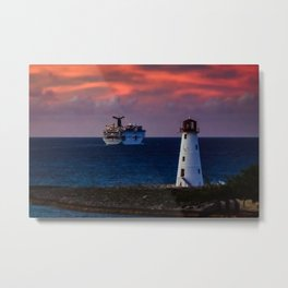 Cruise Ship Leaving Nassau Harbor Lighthouse Sunset Metal Print