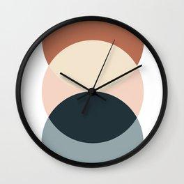 Sun and Moon, Geometric Art, Terracotta, Blue Wall Clock