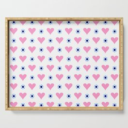 heart and star 4 - blue star and pink heart Serving Tray