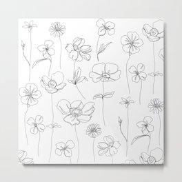 Botanical illustration drawing - Botanicals White Metal Print