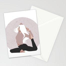 Yoga girl pink I Stationery Cards