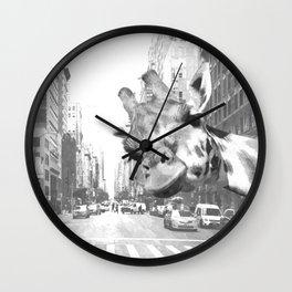 Black and White Selfie Giraffe in NYC Wall Clock