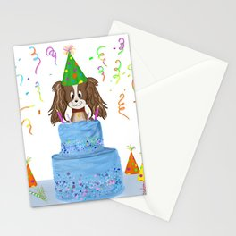 Happy Birthday With Cavalier King Charles Spaniel And Cake Stationery Cards