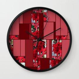 Mixed color Poinsettias 1 Art Rectangles 8 Wall Clock