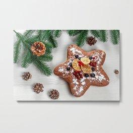 Image Christmas Star decoration Powdered sugar Foo Metal Print