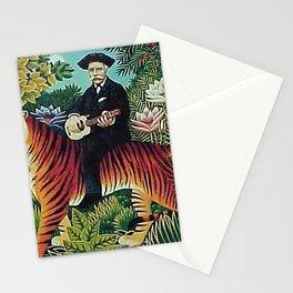 Traumgarten Tiger Riding Ukelele Man by Henri Rousseau Stationery Cards