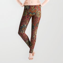 Persian Medallion Rug IV // 16th Century Distressed Red Green Blue Flowery Colorful Ornate Pattern Leggings