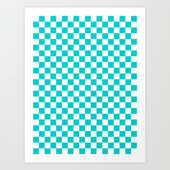 White and Cyan Checkerboard by colorfulpatterns