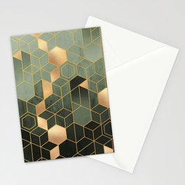 Olive Green + Golden Hexagonal Modern Abstract Pattern Stationery Cards