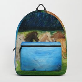 Colorful Horses Oil Painting. Home Decor.  Backpack