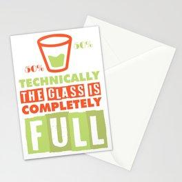 scientist optimist pessimist glass gift Stationery Cards
